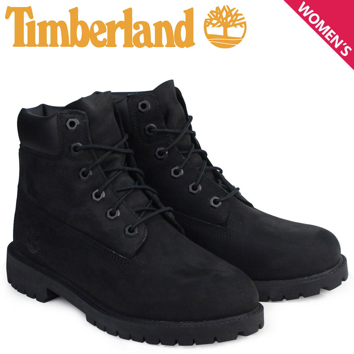 ティンバーランド レディース ブーツ 6インチ Timberland 6INCH WATERPROOF BOOTS プレミアム ウォータープルーフ 12907 ブラック [予約商品 1/25頃入荷予定 追加入荷]