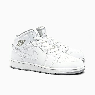 best service 4e6dd 47a77 NIKE AIR JORDAN 1 MID BG Nike Air Jordan 1 mid  554725-112 WHITE WHITE WOLF  GREY, WOMEN S GS women s sneakers grey white grey Air Jordan all white