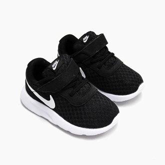 耐克生產工序 TDV 818383-011 黑色/白色耐克丹絨嬰兒蹣跚學步的孩子魔術貼運動鞋黑色白黑白色