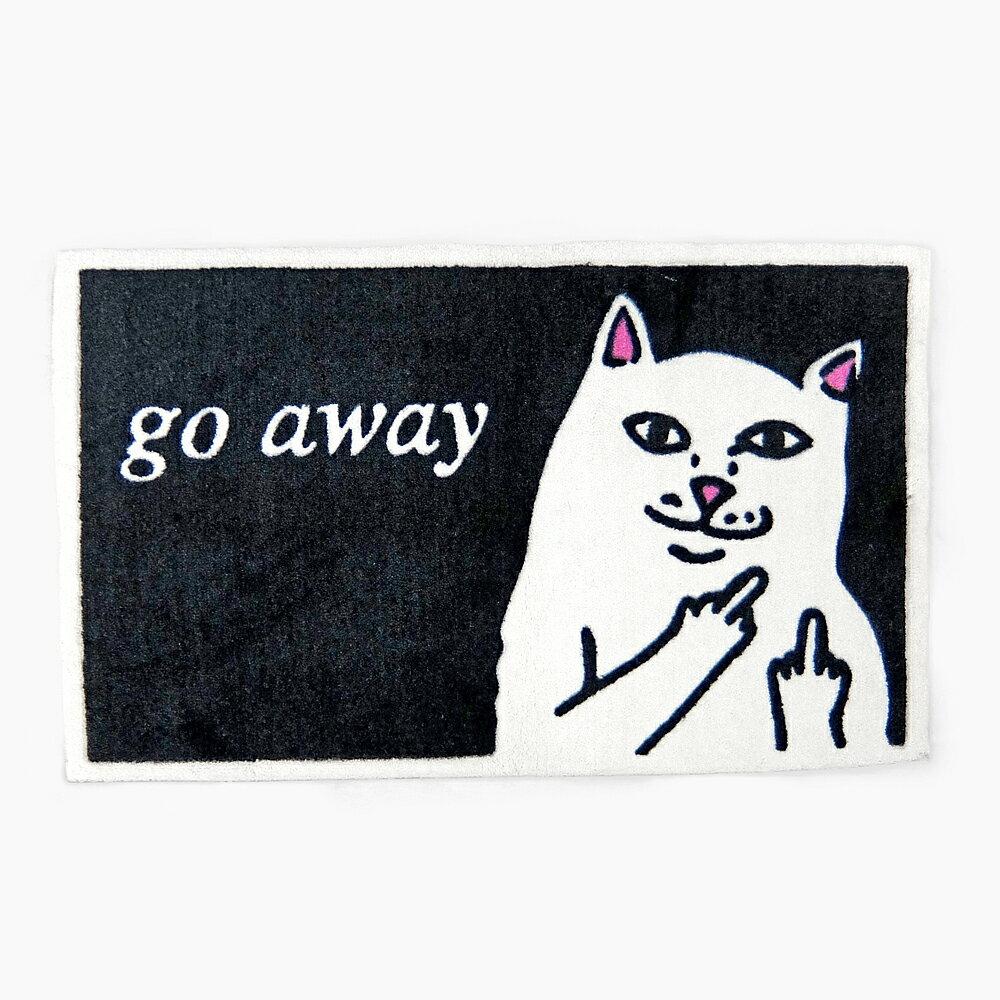 RIPNDIP リップンディップ GO AWAY RUG [BLACK RND0641] RIPNDIP リップンディップ ラグ ラグマット カーペット インテリア 黒 白 ブラック ホワイト 猫 ネコ キャット RIP N DIP リップン ディップ RIP N DIP
