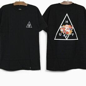 HUF ハフ HUF Tシャツ MEMORIAL TRIANGLE S/S TEE BLACK ハフ 花柄 トライアングル ロゴ グラフィック メンズ レディース 半袖Tシャツ 黒 ブラック