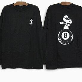 HUF X PEANUTS ハフ ピーナッツ コラボ 長袖Tシャツ FLYING ACE L/S TEE BLACK ロンT ハフ フライングエース Tシャツ メンズ レディース ティーシャツ 黒 ブラック