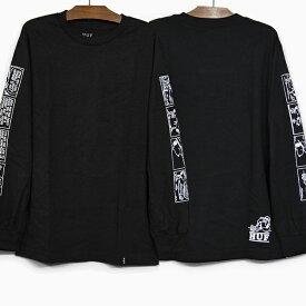 HUF X PEANUTS ハフ ピーナッツ コラボ 長袖Tシャツ SPIKE STRIPS L/S TEE BLACK ロンT ハフ スパイク ストリップス Tシャツ メンズ レディース ティーシャツ 黒 ブラック プレゼント クリスマス