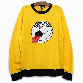RIPNDIP リップンディップ ニット セーター PILL KNIT SWEATER [YELLOW]メンズ レディース 長袖 黄色 イエロー スケートボード ストリート 猫 長そで RIPNDIP プレゼント