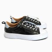 SLACKCLUDE[BLACK/WHITESL1201001]スラックローカットガラスレザースニーカー黒ブラック靴メンズレディース革リフレクターコードロック