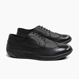 ビジネススニーカー 革靴 ドライビングシューズ メンズ AULIGA ALG001 WINGTIP アウリーガ ウイングチップ 黒