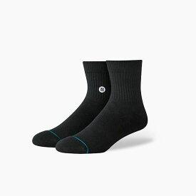 STANCE SOCKS スタンスソックス ICON QTR BLACK/WHITE スタンス ソックス MEN'S 新作 メンズ 靴下
