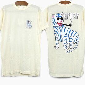 【30%OFF】RIPNDIP リップンディップ Tシャツ 半袖 COOL CAT S/S TEE [NATURAL] メンズ レディース RIP N DIP プリントTシャツ ナチュラル ベージュ スケートボード ストリートブランド 猫