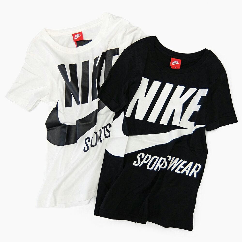 【メール便送料無料】NIKE SPORTSWEAR WOMENS BRS TEE ナイキ ウィメンズ BRS Tシャツ [878112 010 BLACK/SAIL 133 SAIL/BLACK] ナイキスポーツウェア レディース ティーシャツ 半袖 コットン 黒 白 S/M/L/XL ビッグロゴ ビッグスウォッシュ カジュアル トップス