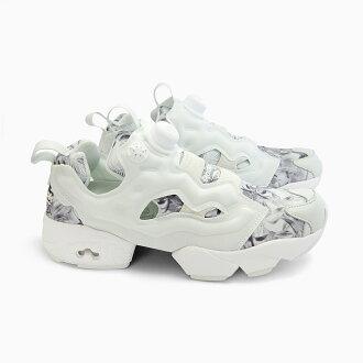 锐步 INSTA 泵愤怒 SG [V69989 蛋白石/白/钢] 锐步泵愤怒白色灰色女式运动鞋白色灰