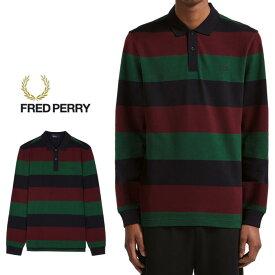 フレッドペリー FRED PERRY ポロシャツ エンラージストライプ ピケシャツ ネイビー M5509-608 [WA]【FNOG】