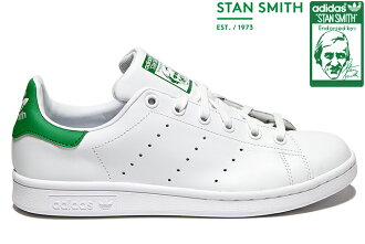 小adidas Originals STAN SMITH J M20605 WHITE/WHITE/GREEN愛迪達原始物Stan Smith白綠色女士女孩子運動鞋