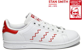 "adidas Originals STAN SMITH W ""ZIGZAG"" S75138 Running WHITE/WHITE/COLLEGIATE RED adidas originals Stan Smith Womens zig-zag white red Womens girls sneakers"