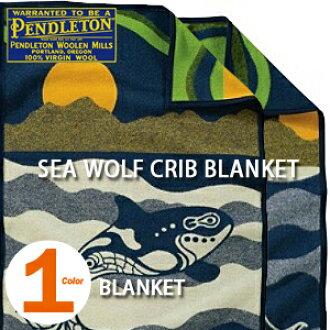 "PENDLETON""SEA WOLF CRIB BLANKET""NAVY ZD608 pendorutonshiurufukuribuburankettomuchachoneibi"