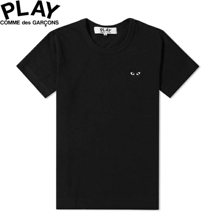 COMME des GARCONS PLAY WOMENS BASIC LOGO BLACK HEART T-SHIRT BLACK & BLACK P1T063コムデギャルソン ベーシックロゴ ウィメンズ レディース ブラック ハート Tシャツ 半袖 TEE