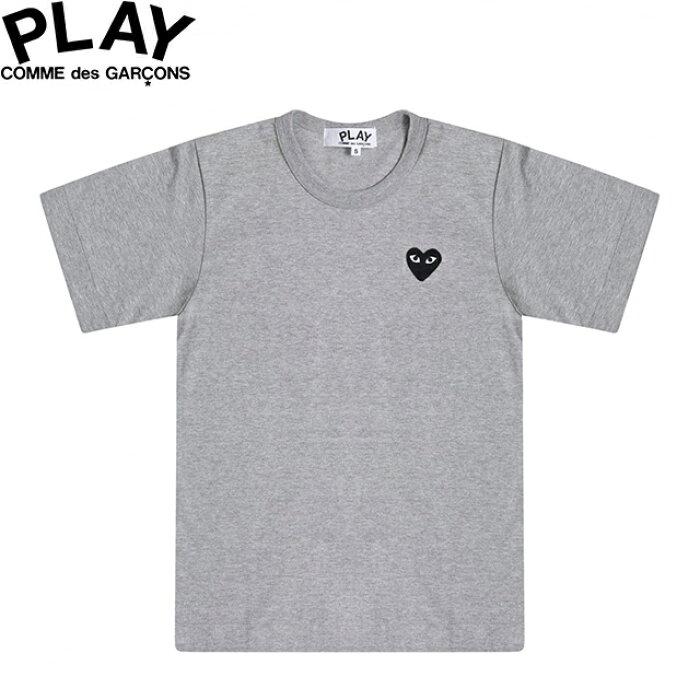 COMME des GARCONS PLAY WOMENS BASIC LOGO BLACK HEART T-SHIRT GREY & BLACK P1T063コムデギャルソン ベーシックロゴ ウィメンズ レディース ブラック ハート グレー Tシャツ 半袖 TEE