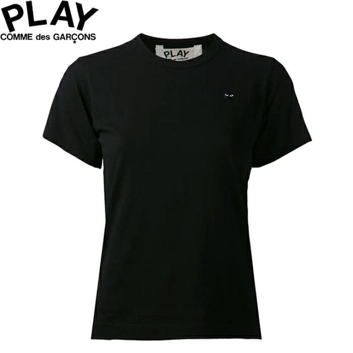 COMME des GARCONS PLAY WOMENS BASIC LOGO LITTLE BLACK HEART T-SHIRT BLACK & BLACK P1T201コムデギャルソン ベーシックロゴ ウィメンズ レディース リトル ブラック ハート Tシャツ 半袖 TEE