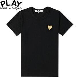 「Sale!」 COMME des GARCONS PLAY WOMENS BASIC LOGO GOLD HEART T-SHIRT BLACK & GOLD P1T215コムデギャルソン ベーシックロゴ ウィメンズ レディース ゴールド ハート Tシャツ 半袖 TEE 20ws1