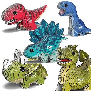 立体パズル 紙製 EUGY 恐竜シリーズ | 恐竜 ステゴサウルス ブロントサウルス トリケラトプス ティラノサウルス ドラゴン | si-gu-mi ユージー 紙製パズル 紙製立体パズル クラフト azone 組み立て