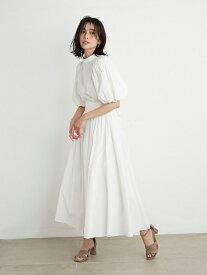 ボリュームギャザースカート SNIDEL スナイデル スカート ロングスカート ホワイト ブルー【送料無料】[Rakuten Fashion]