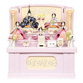 雛人形 コンパクト 収納飾り 三段飾り ピンクパープル 桜刺繍