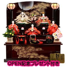 雛人形 三段 収納飾り ワインレッド 金彩松月