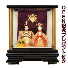 雛人形 リュウコドウ ひな人形 ケース飾り コンパクト ちりめん 親王 紫几帳付 ケース飾り