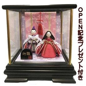 雛人形 リュウコドウ ひな人形 ケース飾り コンパクト 22cm ちりめん 親王 ピンク几帳付 ケース飾り