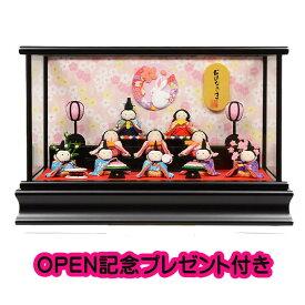 雛人形 リュウコドウ ひな人形 ケース飾り コンパクト 37cm ちりめん 10人 うさぎ付 ケース飾り