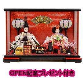 雛人形 ひな人形 ケース飾り コンパクト 38cm 小芥子親王 赤黒 ケース飾り