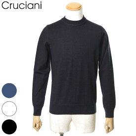 国内正規品 Cruciani クルチアーニ ニット セーター クルーネック ウール100% 27ゲージ×9ゲージ メンズ ホワイト/ブラック/ネイビー 46/48/50 JU2400/M49AG