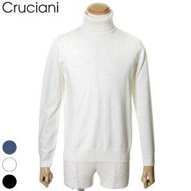 国内正規品 Cruciani クルチアーニ ニット セーター タートル ネック ウール100% 27ゲージ×9ゲージ メンズ ホワイト/ブラック/ネイビー 46/48/50 JU2402/M49AD