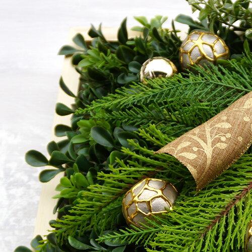 クリスマス開店祝い開業祝い社長就任新築祝い造花インテリアグリーンフレームS-3壁掛けアートおしゃれアーティフィシャルグリーン造花ウッドフレームフレームアレンジインテリアグリーン桐観葉植物