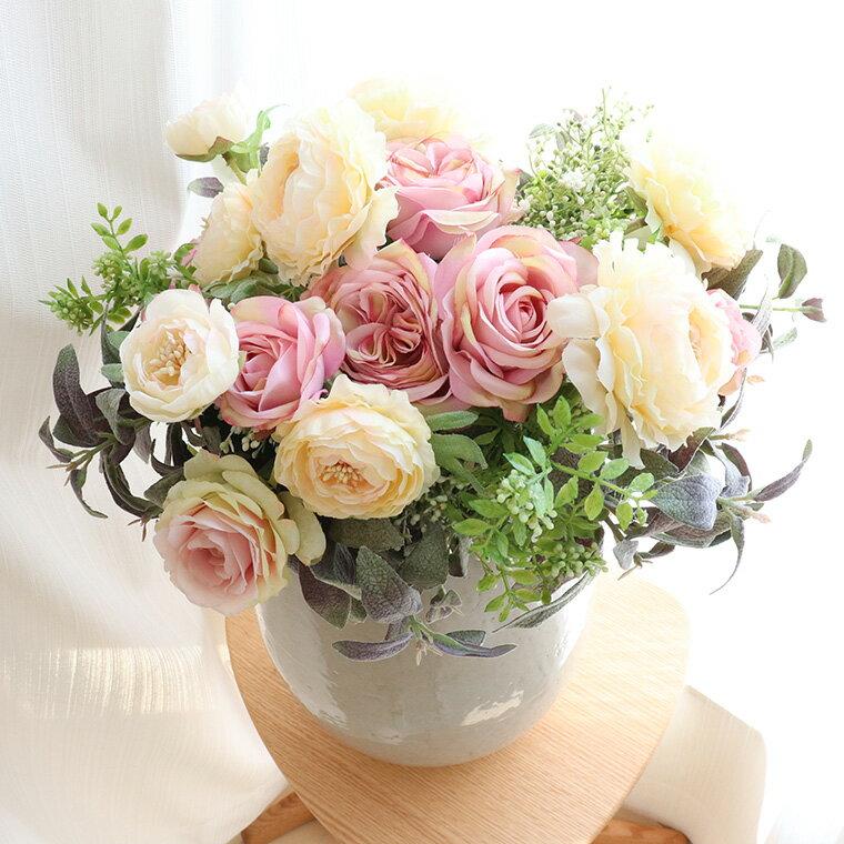 アーティフィシャルフラワー アレンジ ブーケ 造花 花束 インテリア フラワーアレンジメント 大きい おしゃれ 雑貨 開店祝い 開院祝い 花 「ラナンキュラス」
