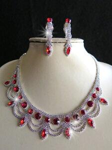 キラキラ 化粧箱入りネックレス&イヤリングセットルビー色&ラインストーン紅が織りなす中世のノスタルジー鮮やかな印象が高貴な輝きパーティー フォーマル ステージ【ルビーエリザベ