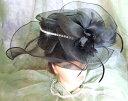 エレガントに香るブラックフェザー&ビジュー付きヘッドコサージュビッグなレースハット チュールヘッドドレス☆トー…