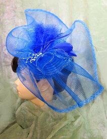美しきヘッドドレス印象派の貴族ブルービッグヘッドコサージュフェザー&レースリボンピクチャーハット風に装う幅広ゴースレースでゴージャスブライダル・パーティーゴスロリ・お姫様