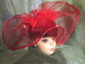 美しきヘッドドレスドレスに合わせる華やかレッドビッグヘッドコサージュ!フェザー&レースリボンピクチャーハット風に装う幅広ゴースレースでゴージャスブライダル・パーティーゴスロリ・お姫様