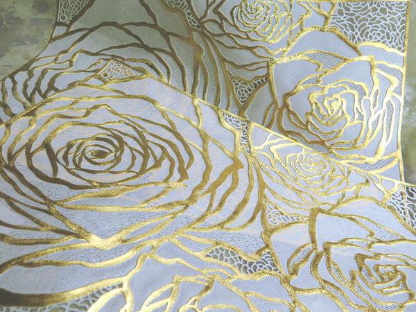 2枚セット薔薇の花のフリーマットゴールドローズが彩るランチョンマットやリビングクロステーブルランナーに豪華さを!浮き立つ金のバラ