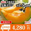 訳あり 北海道産 夕張メロン 個撰 2玉 計2.5kg前後 送料無料 /果物/メロン ◆出荷予定:7月中旬-8月中旬