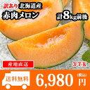 【予約受付中】訳あり 北海道産 赤肉メロン 計8kg前後(3-7玉) 送料無料 /果物 ◆出荷予定:2017年8月中旬-9月下旬