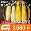 北海道産 トウモロコシ 食べ比べセット 11本 とうもろこし/BBQ/バーベキュー/雪の妖精/ホワイトコーン/スイートコーン/おおもの/イエロ…