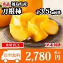 柿 送料無料 福島県産 刀根柿 秀品 計3.5kg前後(18玉前後) 種なし柿◆出荷予定:10月中旬-下旬