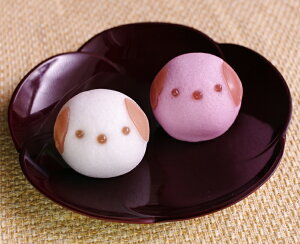 【プチギフト/どうぶつまんじゅう】[犬の紅白饅頭]2ヶ入(和菓子)