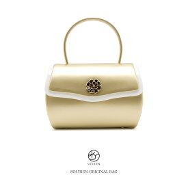バッグ 創美苑オリジナル 金色 ゴールド 白 ホワイト 花 シンプル エナメル ハンドバッグ かばん 鞄 バック 振袖向け 成人式向け 袴向け 卒業式向け 【あす楽対応】