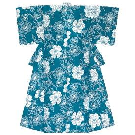 レディース浴衣 青系 ブルー 牡丹 ボタン 花 フラワー 綿 夏祭り 花火大会 女性用 仕立て上がり【あす楽対応】