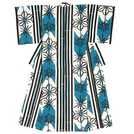 浴衣 レディース レトロ 青 ブルー 矢羽根 麻の葉 縞 ストライプ 綿 花火大会 女性用 仕立て上がり【あす楽対応】