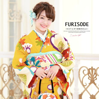 I fall, and long-sleeved kimono set brand 芸艸堂 UNSODO yellow yellow gold-grounded fan child pine plum chrysanthemum folding fan shellfish pail crest of a Chinese flower pattern carapace of a turtle putting design on kimono long-sleeved kimono Nishijin bro