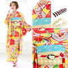 I fall, and long-sleeved kimono set brand Tamaki Tina X kiss Miss yellow yellow gold plum camellia Tachibana flower carapace of a turtle cross-woven lattice fine pattern long-sleeved kimono long-sleeved kimono is made in sleeve kimono set newly made comi