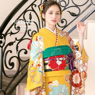 A silk Nishijin brocade pearl tone processing long-sleeved kimono of working cherry tree cherry tree flower putting design on kimono pattern Tango crepe pure silk fabrics Japan falls, and a long-sleeved kimono set yellow yellow chrysanthemum is made in s